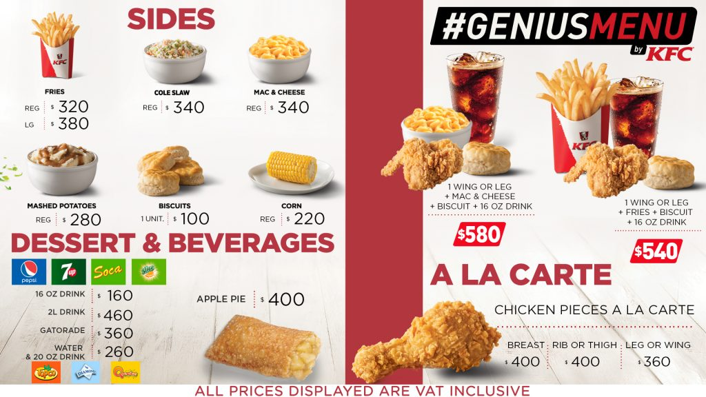 Our Menu Kfc Guyana